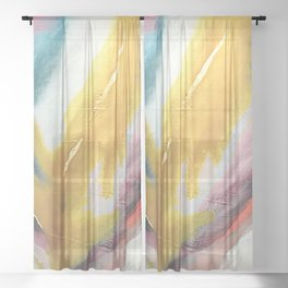 Ambition: a colorful abstract piece in bold yellow, blue, pink, red, and gold Sheer Curtain