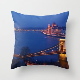 Panorama of Budapest, Hungary, with the Chain Bridge and the Parliament. Throw Pillow