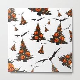 Halloween Christmas Trees Pattern - White Metal Print