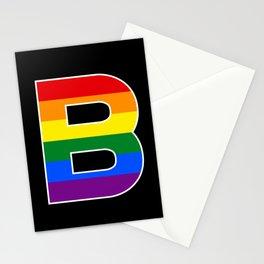 Letter B BI RAINBOW FLAG GAY PRIDE SEASON LGBT Stationery Cards