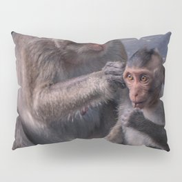 Mother and Baby Macaque Monkey Pillow Sham