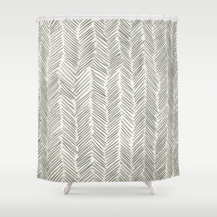 Herringbone Black On Cream Shower Curtain