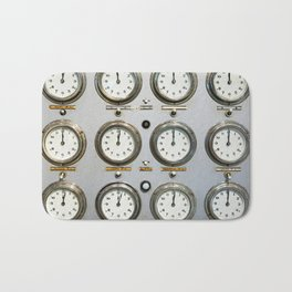 Retro clock faces on control panel Bath Mat
