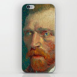Vincent Van Gogh Self Portrait With Starry Night In His Eyes iPhone Skin