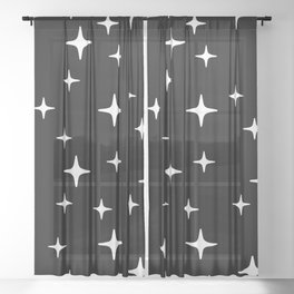 Mid Century Modern Star Pattern 443 Black and White Sheer Curtain