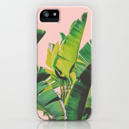 Banana Leaves III (Pink) iPhone Case