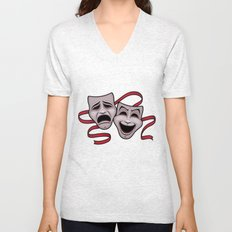 Comedy And Tragedy Theater Masks Unisex V-Neck