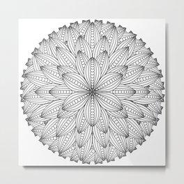 Geometric Flower Mandala - Color Your Own  Metal Print