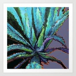 BLUE DESERT AGAVE CACTI PASTEL ART Art Print
