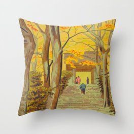 Asano Takeji Japanese Woodblock Print Vintage Mid Century Art Autumn Trees Shinto Shrine Throw Pillow