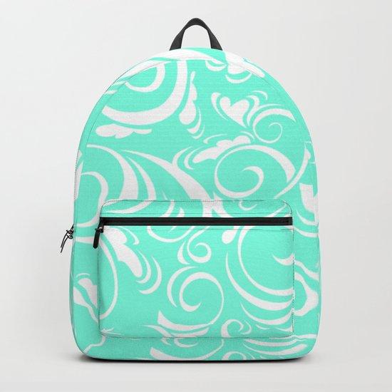 Green Mint Floral Backpack