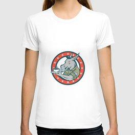 Army Sergeant Donkey Coffee Circle Cartoon T-shirt
