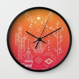 Santa Fe Garden – Orange Sunset Wall Clock