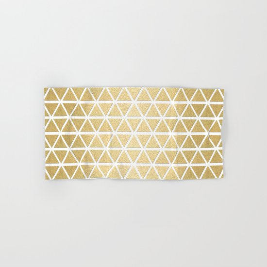 White and Gold Geometric Pattern 3 Hand & Bath Towel