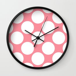 Polka Dots Pink Wall Clock