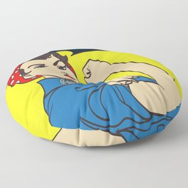 We Can Do It. Cool vector iconic woman's fist symbol of female power and industry. cartoon woman wit Floor Pillow