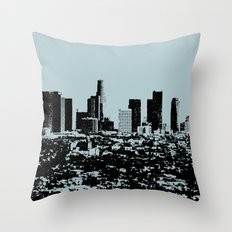Downtown Los Angeles Skyline - Stamp Pattern on Light Blue Throw Pillow