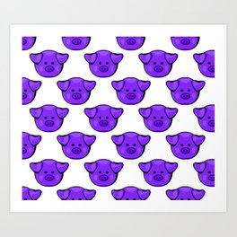 Cute Purple Pigs Art Print