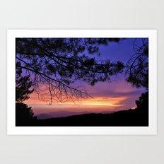 Purple Sunset At The Mountains. Last night Art Print