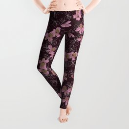 Pink Pansies Leggings