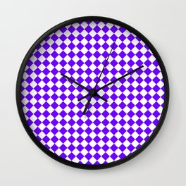 White and Indigo Violet Diamonds Wall Clock