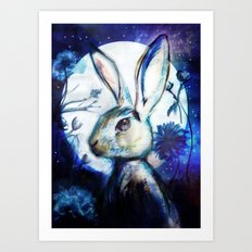 Moonlight Rabbit Art Print