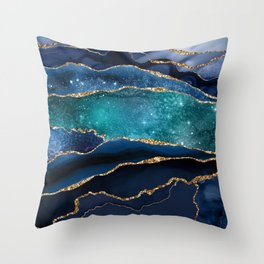 Blue Night Galaxy Marble Throw Pillow