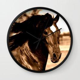 Horse print horse photography equestrian art sepia Poster Wall Clock