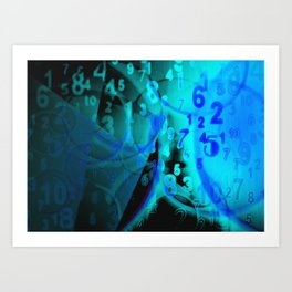 Blue Digital Numbers Art Print