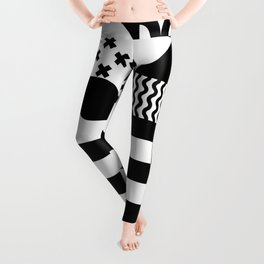 Geometric Shapes | Retro Bauhaus Pattern | Black & White Edition Leggings