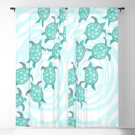 Watercolor Teal Sea Turtles on Swirly Stripes Blackout Curtain
