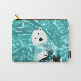 Playful Polar Bear In Turquoise Water Design Carry-All Pouch