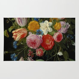 """Jan van Kessel de Oude """"Tulips, peonies, chicory, carnations, cherry blossom and other flowers"""" Rug"""