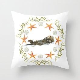 Sea Otter Mandala 1 - Watercolor Throw Pillow