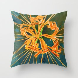 Yellow Spider Lily Watercolor Floral Art Throw Pillow