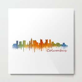 Columbus Ohio, City Skyline, watercolor  Cityscape Hq v2 Metal Print
