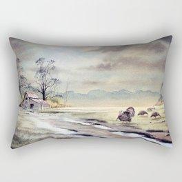 Grazing Turkeys Rectangular Pillow
