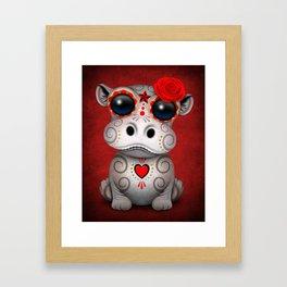 Red Day of the Dead Sugar Skull Hippo Baby Framed Art Print