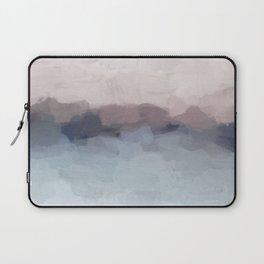 Blush Pink, Mauve Purple, Navy Light Blue, Abstract Painting, Modern Wall Art, Ocean Waves Horizon Laptop Sleeve