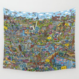 Illustrated map of Berlin Wall Tapestry