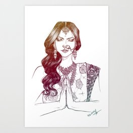 India -colored version- Art Print