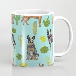 Australian Cattle Dog cactus pet friendly dog breed dog pattern art Coffee Mug