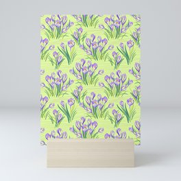 Spring Floral Pattern with Crocuses on light yellow-green Mini Art Print