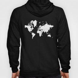 Minimalist World Map White on Black Background. Hoody