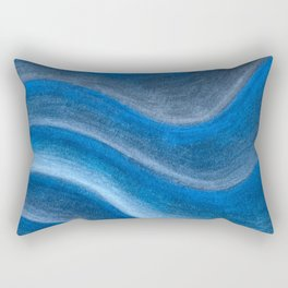 Wet Blue Waves - Pastel Drawing Rectangular Pillow