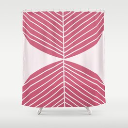 Minimal Fall Leaf - Soft Berry Shower Curtain