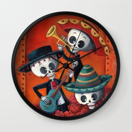 Dia de Muertos Musical Skeleton Band Wall Clock