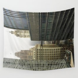 Chicago Buildings in Fog Color Photo Wall Tapestry