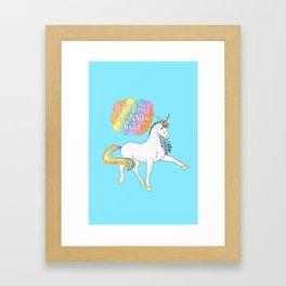 Light blue Unicorn Framed Art Print