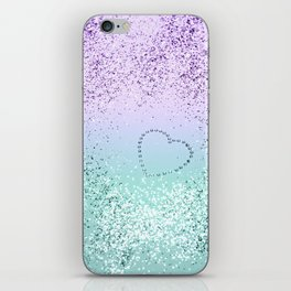 Sparkling MERMAID Girls Glitter Heart #1 #decor #art #society6 iPhone Skin
